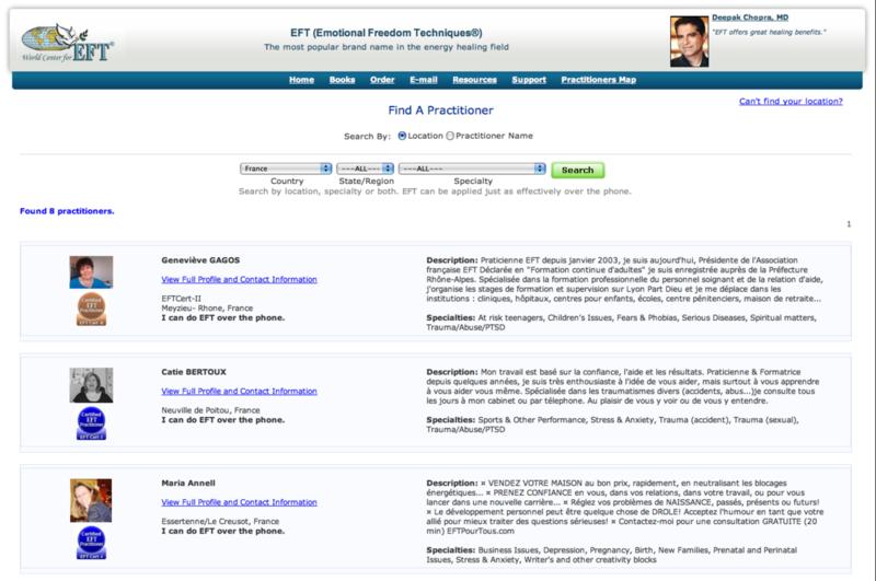 Liste des Praticiens EFT Certifiés par Gary CRAIG, en France