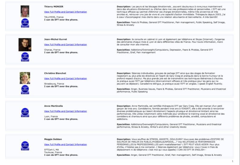 Liste des certifiés de Gary Craig, en France - suite